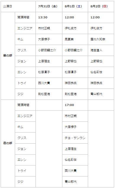 ミュージカル ミス・サイゴン2020(北海道,長野,大阪,静岡,富山,愛知,福岡,埼玉)のチケット先行,キャストスケジュール,日程